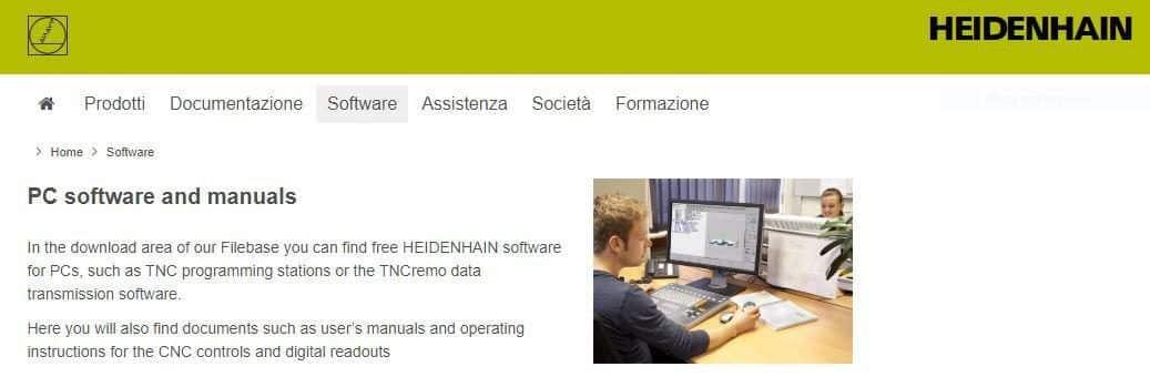 Pagina sito Heidenhain per download Simulatore Heidenhain
