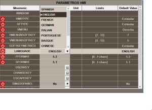 Vista dei parametri macchina per selezionare la lingua simulatore CNC fagor