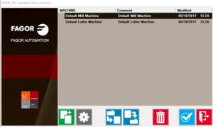 Finestra di selezione di una macchina nel simulatore CNC free Fagor 8065